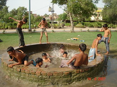 Celebrating a holiday. (Masd) Tags: pakistan boys water grass kids children fun jump asia dive well celebration splash hyderabad independenceday enjoyment sindh splashing august14 14august latifabad