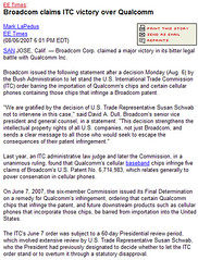 2007-08-06 Broadcom claims ITC victory over Qualcomm
