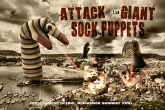 Asockalypse (Matt West) Tags: ocean sea cinema film beach socks seaside scifi horror scarborough paintshoppro sockpuppet handpuppet monstermovie cloverfield fakemovieposter views200 views300 helpmysocksarerevolting