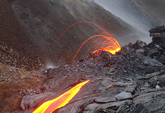 Spattering vent and a lava flow on Hawaii (volcanodiscovery) Tags: vent volcano hawaii lava eruption spattering