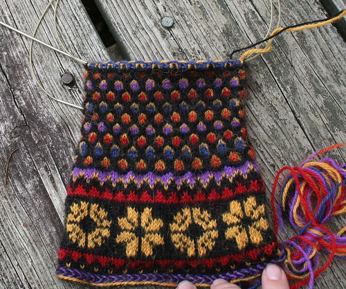 Cathedral Mittens--In Progress