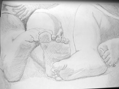 IMG_1695 (Disney Fanatic) Tags: sleeping 2 people baby art feet pencil children sketch infant drawing siblings whites 612months resting humanrelationships 16months pencilsketch mikebetourney