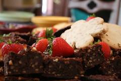 brownies, cookies, and strawberries