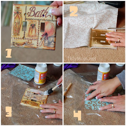 Fabric Covered Switchplate tutorial 1-4