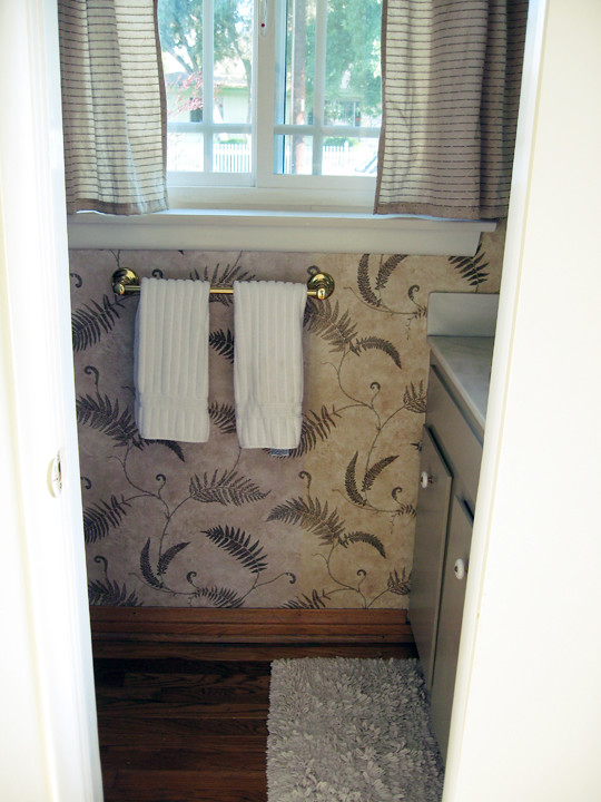 guest bathroom+fern wallpaper+before -1