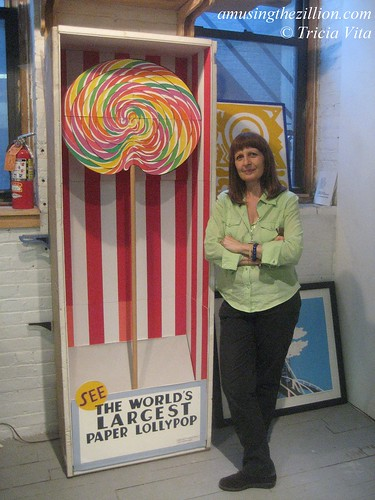 Philomena Marano with cut paper installation Giant Lolly