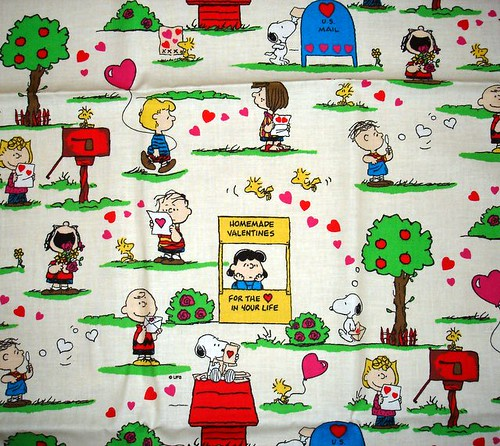 snoopy fabric from yard sale
