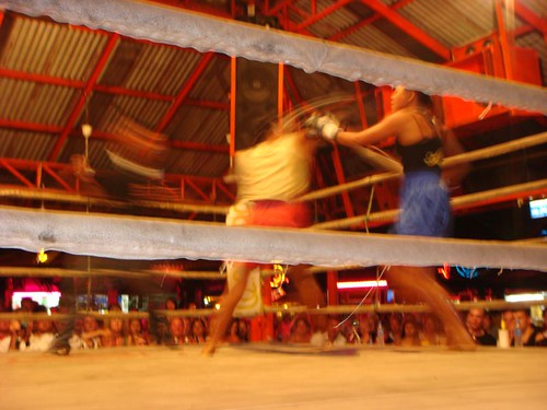 Girls kick boxing in Lamai, Koh Samui