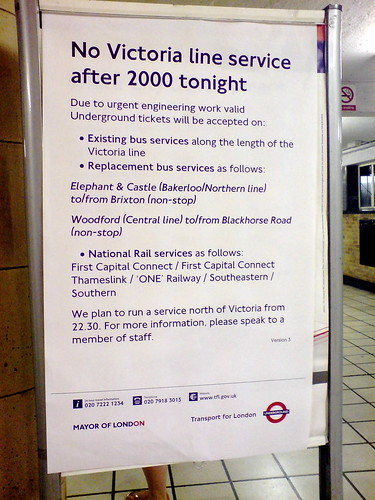 No Victoria line service after 2000 tonight
