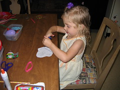lily making humpty finger puppet