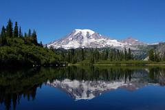 Mount Rainier reflection (mateofiero) Tags: park blue sky mountain reflection volcano washington state snowcapped clear mount national rainier mountainlake 14410 bestnaturetnc07