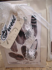 sweet and sinister swap for ArtsyMamma  hehe for Candice (Creativemuse) Tags: old white black halloween collage vintage paper handmade lace spiderweb surprise stamping ribbon aged hint gitter ecru musicsheet crepepaper artsymama creativemuse sweetandsinisterswap