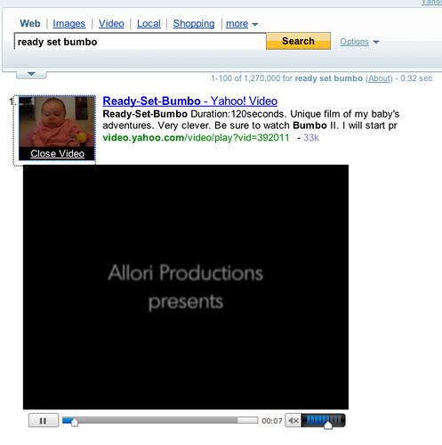 Yahoo Video in Yahoo Search