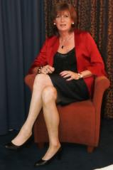 TStyle Party (IMG_5995) (cindy richardson) Tags: red black stockings nude top feminine blouse tgirl transgender blonde heels elegant satin crossdress glamorous pencilskirt