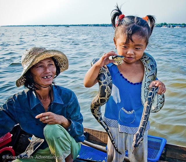 Girl Snake Charmer, Tonle Sap