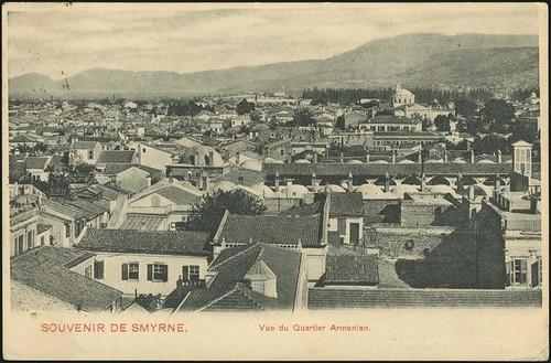 Karpostallarda yangından önce İzmir, Ermeni Mahallesi