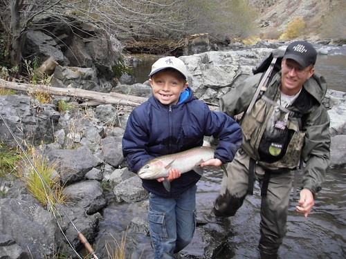 Mason with his first steelhead