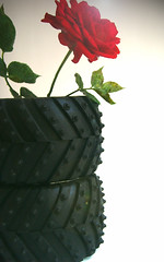 tire vase (dodolivin) Tags: art germany munich design contemporary interior exhibition flowerpot ironic interiordesign productdesign 21century