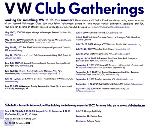 Listing of VW Gatherings