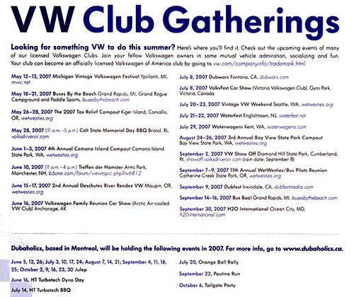 Listing of VW Gatherings