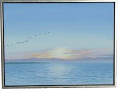 Sonnenaufgang an der Køge-Bucht (dirkgue) Tags: see meer himmel wolken landschaft danmark nordsee sonnenaufgang ostsee morgen acryl malerei norddeutschland gänse leinwand gemälde realismus realistisch dirkgünther