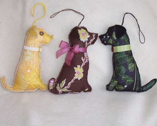 Yellow, Chocolate and Black Lab Dog Ornaments