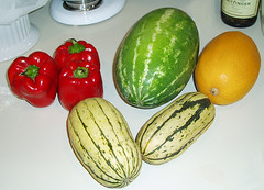 peppers, squash, watermelon