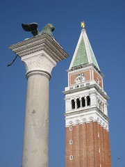 The Cat and the Campanile (richardr) Tags: old city venice red urban italy sculpture building tower heritage history gabriel architecture square geotagged italian europe italia european capital lion historic belltower spire campanile venetian column piazza venezia europeanunion sanmarco piazzasanmarco stmark veneto piazzetta serenissima wingedlion historicalplaces veneziani stmarkscampanile stmarkssquare geo:lat=45433884 geo:lon=12338998 giorgiospavento