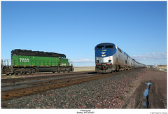 The Pass (Amtrak 11 & 92 passing BNSF 7836) (Robert W. Thomson) Tags: railroad train montana diesel railway trains amtrak shelby locomotive genesis ge bnsf empirebuilder passengertrain emd sd402 burlingtonnorthernsantafe p42 amtk amd103 p42dc fouraxle sixaxle amtk11
