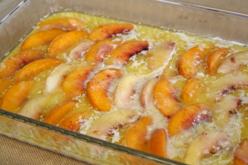 Peach Cobbler: Before Baking
