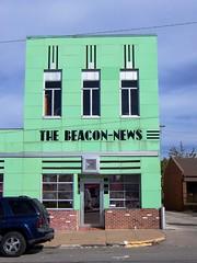 Paris, IL The Beacon-News 2 (army.arch) Tags: green architecture downtown il artdeco vitrolite newspaperbuilding parisillinois