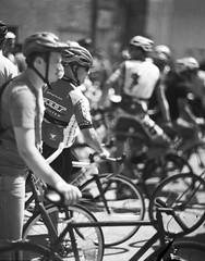 Racers (heart_of_au) Tags: film bw blackandwhite arista edu ultra 100 aristaeduultra100 foma fomapan foma100 fomapan100 4x5 largeformat graflex presscamera speedgraphic pacemakerspeedgraphic kodak aeroektar kodakaeroektar analog florida stpete stpetersburg tampa bay fixedgear bicycle bike bikerace fixedfight april 2010 hipster