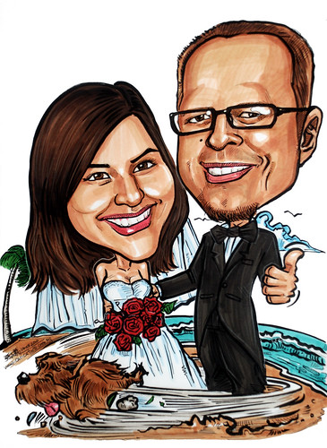 Couple wedding caricatures @ beach 140510