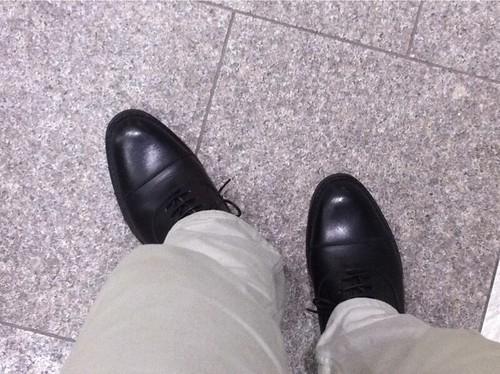 リーガル ゴアテックス ストレートチップ黒革靴