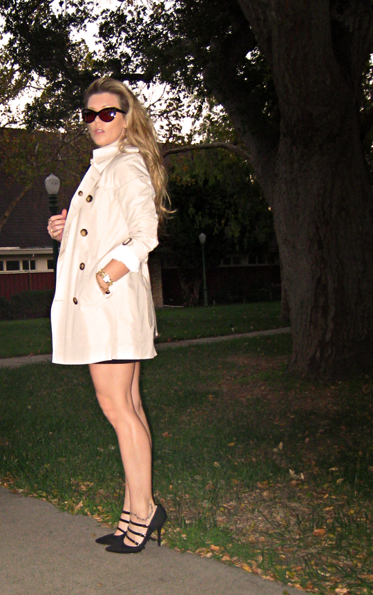 short burberry trench coat+heels+cat eye sunglasses+pf