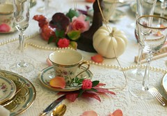 Thankful Setting (:KayEllen) Tags: china white table lace details pearls scape creamy