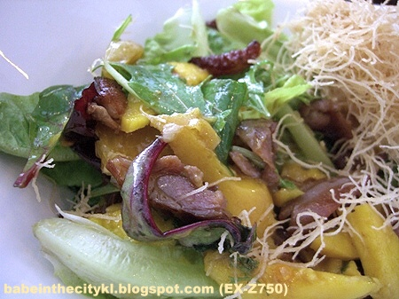 Indulgence - smoked duck salad with topping moved aside