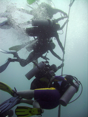 Waiting on the line to do 'three at five'... scuba divers