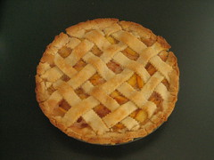 Peach pie close up