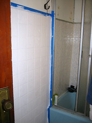 painted tile outside the shower