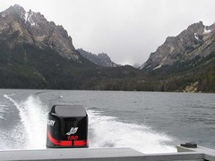 Leaving the Sawtooths via water taxi down lake