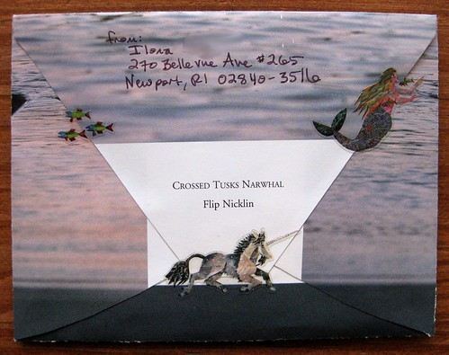 Crossed Tusks Narwhal envelope, back