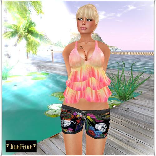 _TuttiFrutti_ Los Muertos UL Shorts - Mango Tie-Dye Ruffled Tee