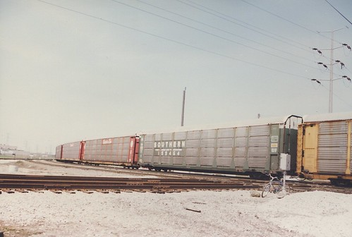 Westbound Auto Rack train. Hayford Junction.  Chicago Illinois. April 1987. by Eddie from Chicago