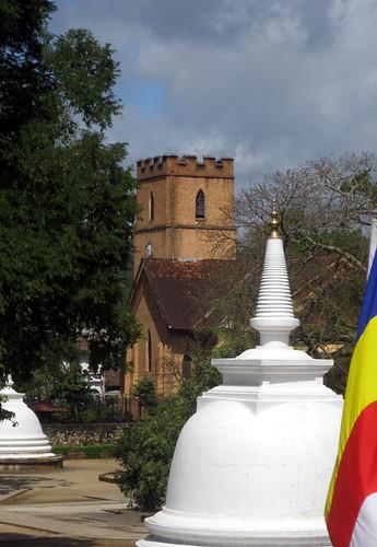 church and stupa together in Kandy Sri Lanka