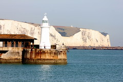 Lighthouse and Cliffs, Dover, Kent (spixpix) Tags: lighthouse water kent harbour whitecliffs dover spixpix