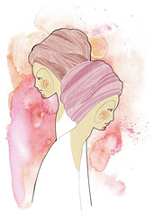 Zodiac Signs  Gemini (ju.hu.) Tags: portrait sign female illustration ink watercolor twins women drawing zodiac turban horoscope gemini astrology zwilling gils