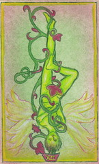 Tarot Key 12: The Hanged Man (front) (daydrifter) Tags: life man tree green skinny wings key vine fairy card tarot faery celtic 12 occult faerie hanged fae fee fey the fairie