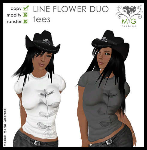 [MG fashion] Line Flower Duo - tees