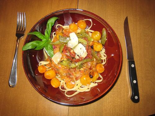 Delicious fresh grilled tomato pasta sauce